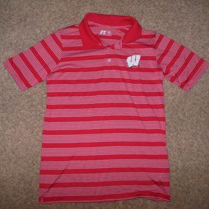 NEW! Medium Wisconsin Polo Performance Red White